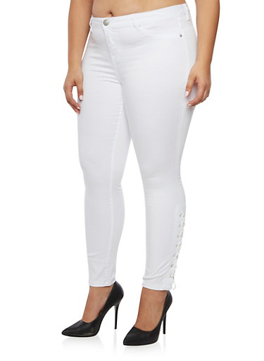 Plus Size Almost Famous Skinny Jeans with Lace Up Sides,WHITE,large