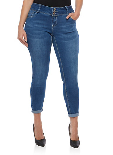 Plus Size Almost Famous 3 Button Skinny Jeans,MEDIUM WASH,large