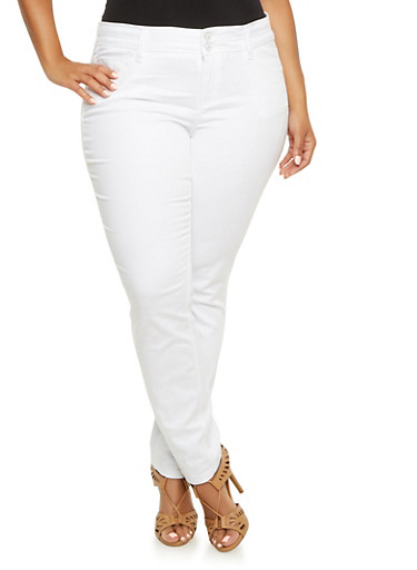 Plus Size Almost Famous Skinny Jeans,WHITE,large