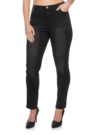 Plus Size Almost Famous Moto Skinny Jeans,BLACK,large