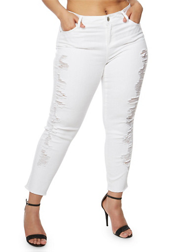 Plus Size Almost Famous Distressed White Skinny Jeans,WHITE,large