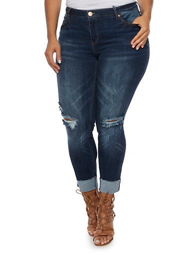 Plus Size Almost Famous Distressed Jeans with Rolled Cuffs,DARK WASH,large