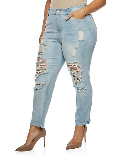 Plus Size Almost Famous Ripped Jeans,LIGHT WASH,large
