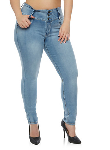 Plus Size 3 Button Push Up Skinny Jeans,ICE WASH,large