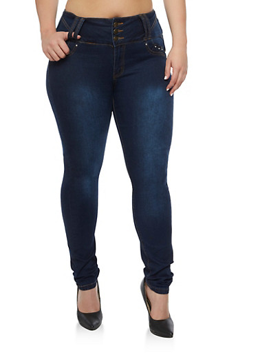 Plus Size 3 Button Push Up Skinny Jeans at Rainbow Shops in Daytona Beach, FL | Tuggl