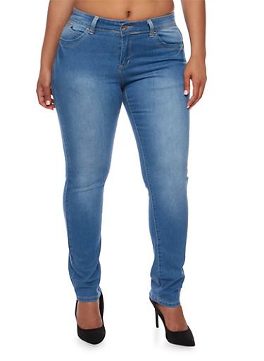 Plus Size Push Up Skinny Jeans,LIGHT WASH,large