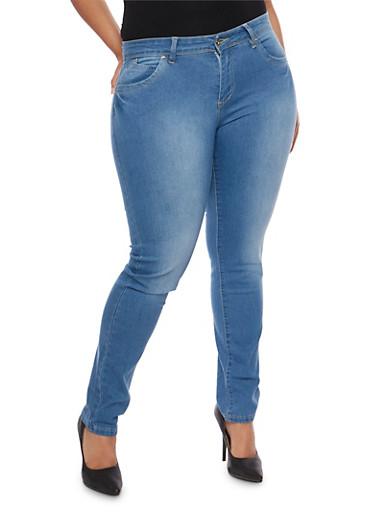 Plus Size Push Up Skinny Jeans,MEDIUM WASH,large