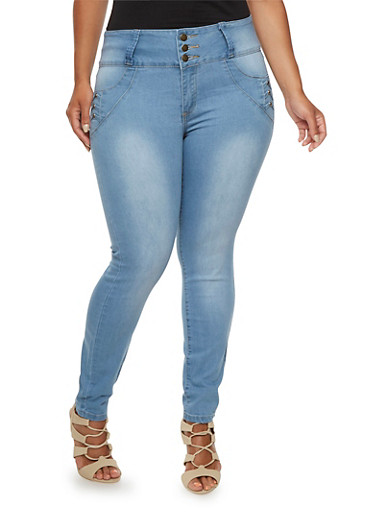 Plus Size Skinny Jeans with High Waist and Push-Up Pockets,BLEACH WASH,large