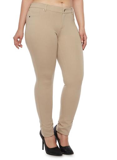 Plus Size Skinny Pants,KHAKI,large