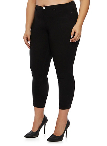 Plus Size Solid Stretch Jeans,BLACK,large