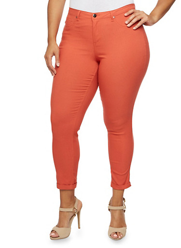 Plus Size Stretch Knit Pants,RUST,large