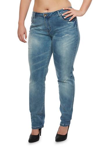Plus Size Whisker-Wash Skinny Jeans,MEDIUM WASH,large