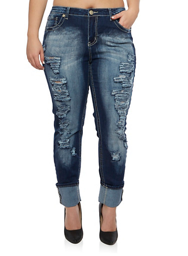 Plus Size Ripped Skinny Jeans with Faded Accents,DARK WASH,large