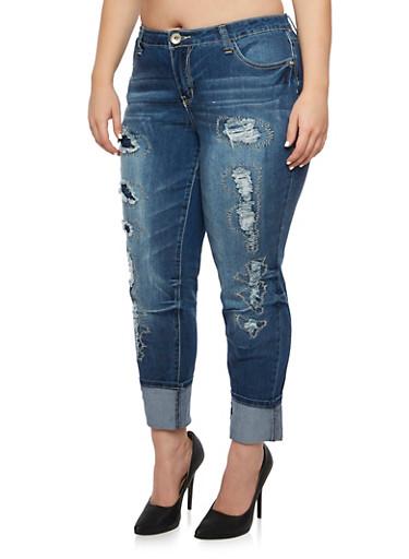 Plus Size Patchwork Boyfriend Jeans,MEDIUM WASH,large