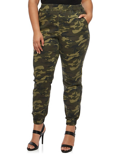 Plus Size Joggers in Camo Print,CAMOUFLAGE,large