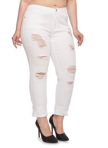Plus Size Distressed Stretch Jeans with Classic Five Pocket Design,WHITE,large
