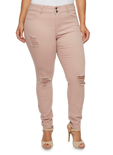 Plus Size Cello Distressed Dyed Skinny Jeans,MAUVE,large