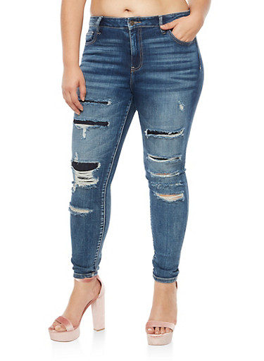 Plus Size Cello Ripped and Repair Skinny Jeans,DARK WASH,large