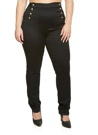 Plus Size Cello Black Sailor Skinny Jeans,BLACK DENIM,large