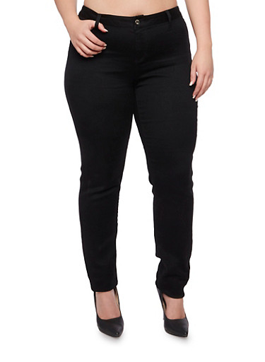 Plus Size Cello Skinny Stretch Jeans,BLACK DENIM,large