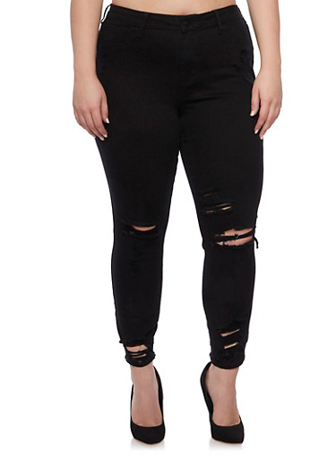 Plus Size Cello Distressed Skinny Jeans,BLACK,large
