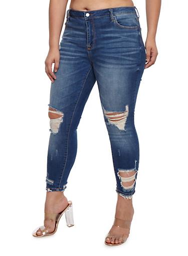 Plus Size Cello Destroyed Knee Jeans,DARK WASH,large
