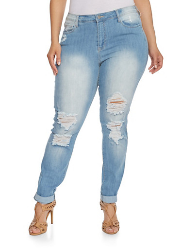 Plus Size Cello Faded Skinny Jeans with Distressed Details,MEDIUM WASH,large