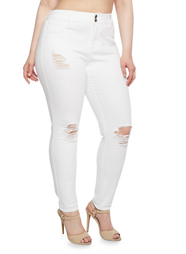 Plus Size Cello Distressed Jeans with Classic Five Pocket Design,WHITE,large