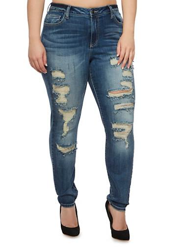 Plus Size Cello Distressed Skinny Jeans,MEDIUM WASH,large