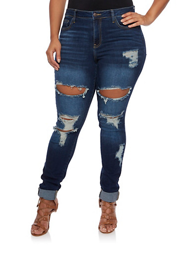 Plus Size Cello Distressed Skinny Jeans,DARK WASH,large