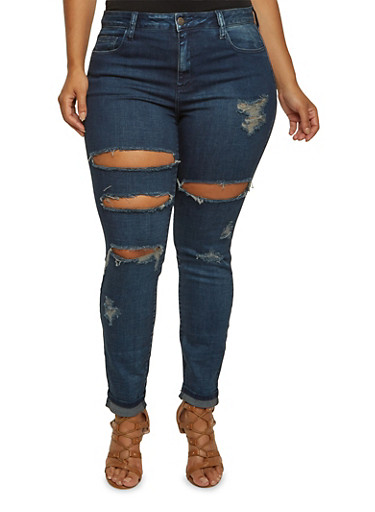 Plus Size Cello Distressed Jeans with Five-Pocket Design,DARK WASH,large