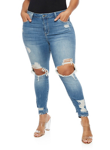 Plus Size Destroyed Skinny Jeans,LIGHT WASH,large