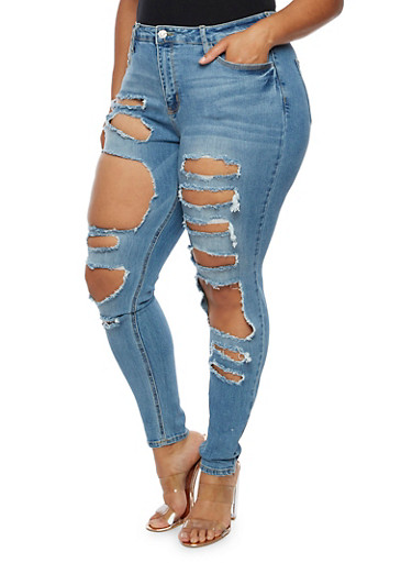 Plus Size Cello Ripped Jeans,MEDIUM WASH,large