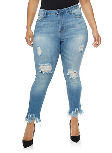 Plus Size Cello Destroyed Jeans with Frayed Hem at Rainbow Shops in Daytona Beach, FL | Tuggl