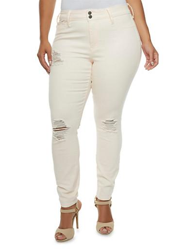 Plus Size Distressed Skinny Jeans,BLUSH,large