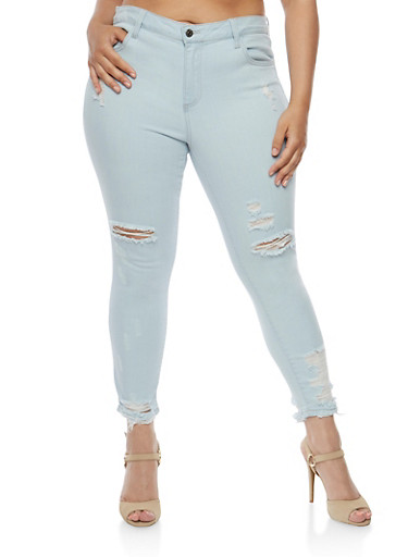 Plus Size Cello Distressed Light Wash Skinny Jeans,LIGHT WASH,large