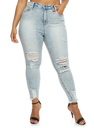 Plus Size Cello Frayed Hem Skinny Jeans,LIGHT WASH,large