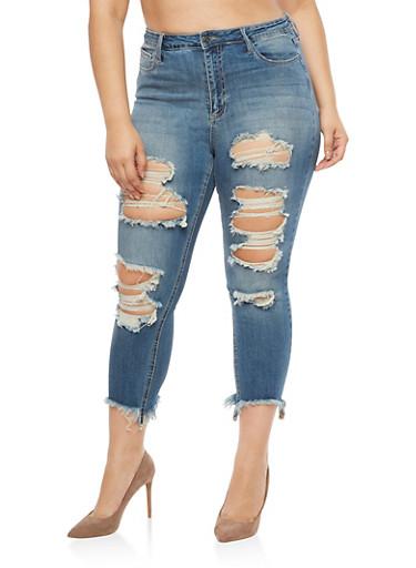 Plus Size Cello Frayed Skinny Jeans,MEDIUM WASH,large