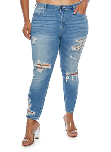 Plus Size Cello Faded Destroyed Jeans,MEDIUM WASH,large
