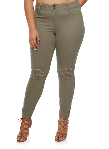 Plus Size Cello Skinny Jeans with Slashed Knees,OLIVE,large