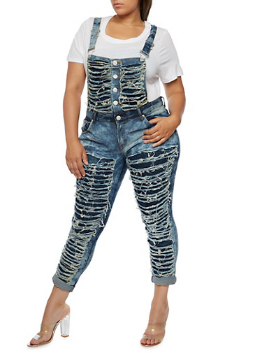 Plus Size Shredded Dark Wash Denim Overalls,DARK WASH,large