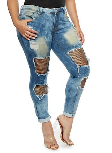 Plus Size Fishnet Insert Destroyed Jeans,MEDIUM WASH,large