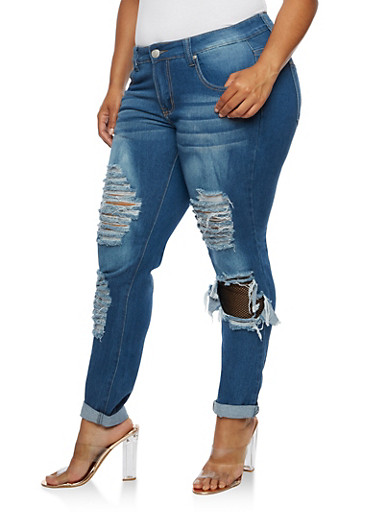 Plus Size Whisker Wash Rip and Repair Jeans,MEDIUM WASH,large