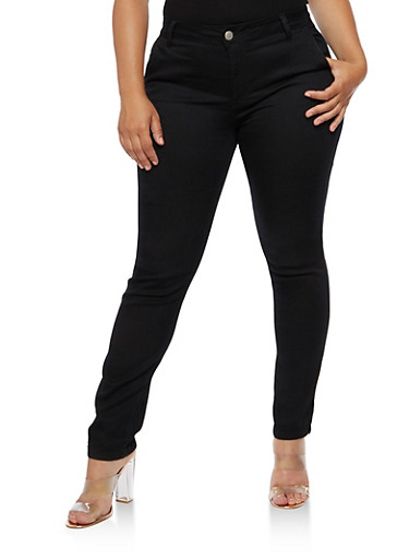 Plus Size VIP Solid Pants,BLACK SBKX,large