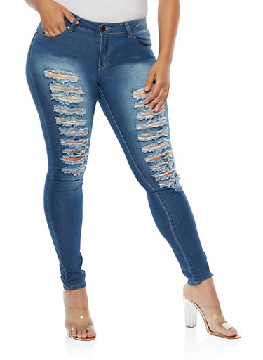 Plus Size VIP Faded Destroyed Jeans,MEDIUM WASH #DBX,large