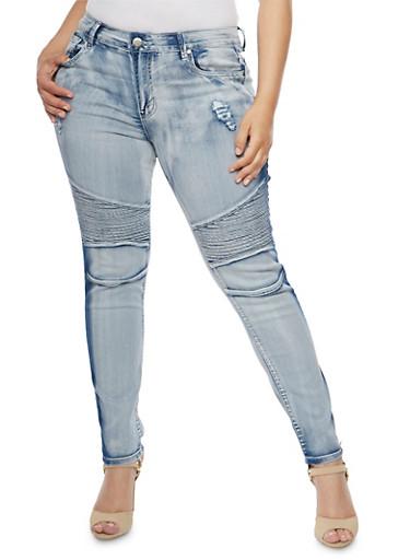 Plus Size VIP Distressed Light Wash Moto Jeans,LIGHT WASH,large