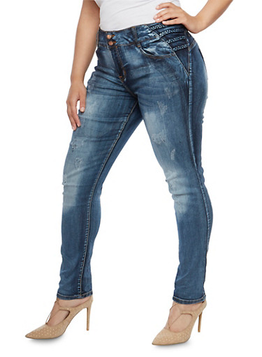 Plus Size VIP Distressed Jeans with Braided Trim at Rainbow Shops in Jacksonville, FL | Tuggl