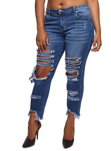 Plus Size VIP Destroyed Skinny Jeans,MEDIUM WASH,large