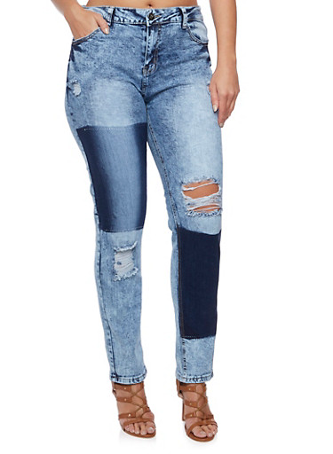 Plus Size VIP Distressed Acid Wash Jeans with Patch Print,RINSE,large