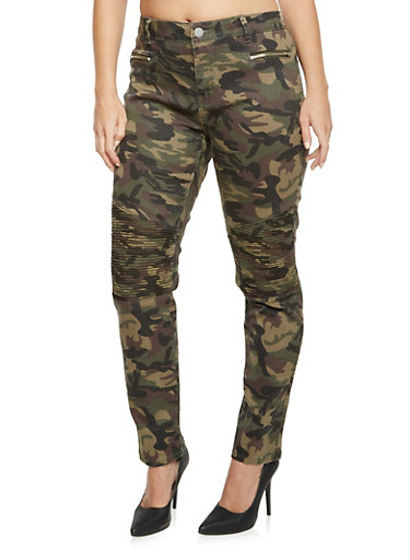 Plus Size Camo Skinny Pants with Moto Stitching,CAMOUFLAGE,large